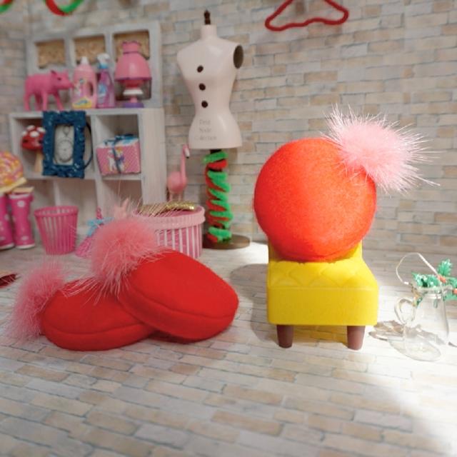 プレッピーなベレー帽  赤色ミンクファー