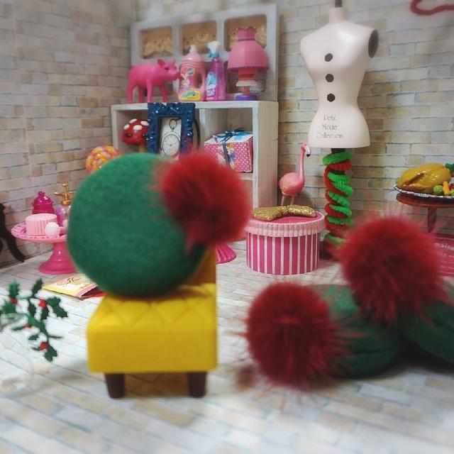 プレッピーなベレー帽  クリスマスグリーンミンクファー