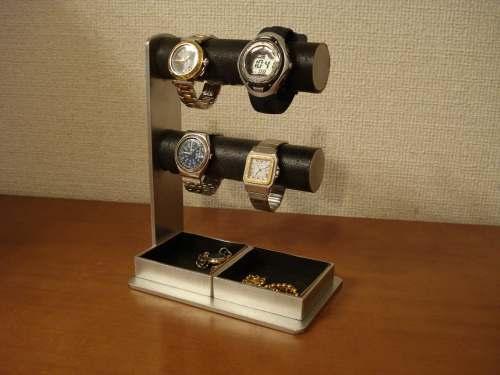 腕時計スタンド 丸パイプ2段でかいトレイ4〜6本掛けブラック腕時計スタンド  ak-design
