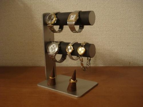 腕時計スタンド 丸パイプブラック4本掛け腕時計スタンド ダブル指輪スタンド   ak-design