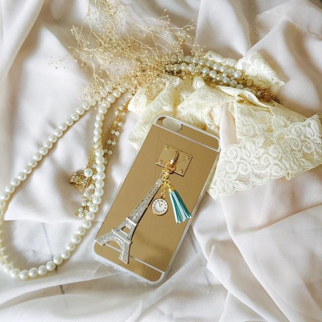 おしゃれ女子必見!ミラー付きiPhone6☆6sケースブルータッセル