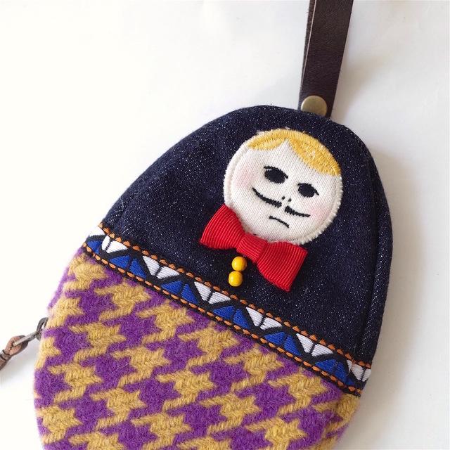"""ウールパンツを履くHAMAOのミニポーチ  """"indigo denim × chidori"""""""