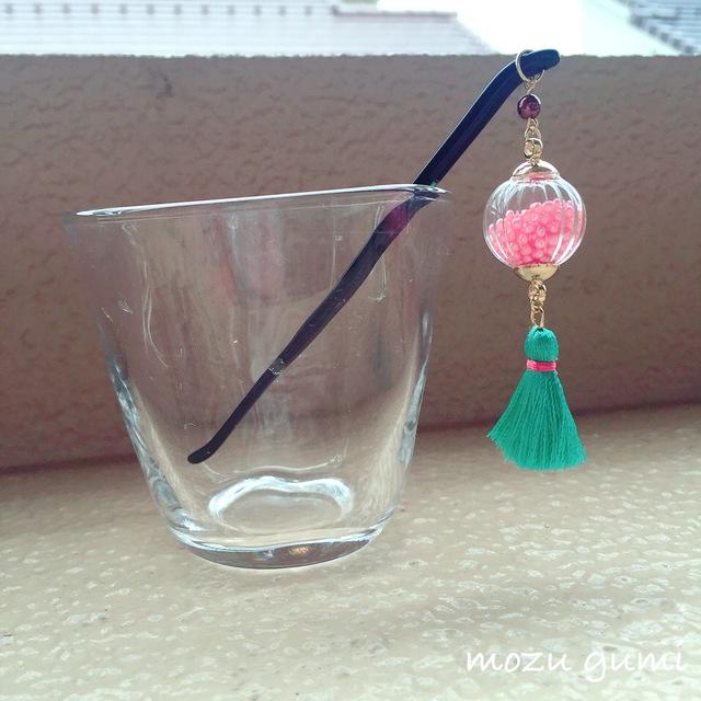 ガラスドームのかんざし(ピンク・エメラルドグリーンタッセル・黒かんざし)