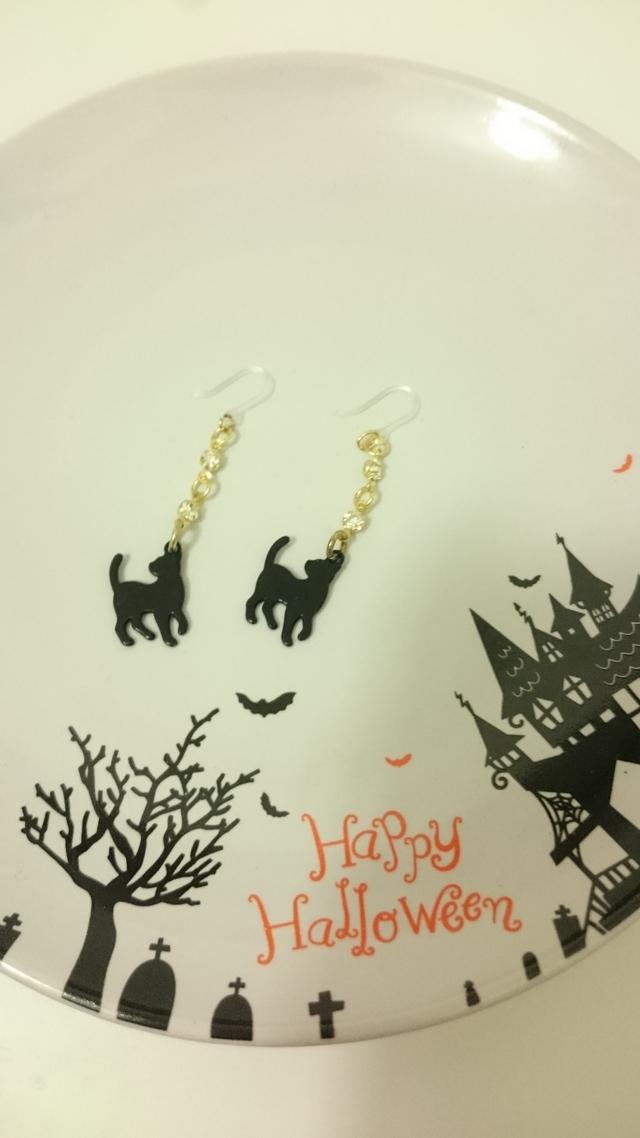 ハロウィン☆黒猫のピアス(立ち)