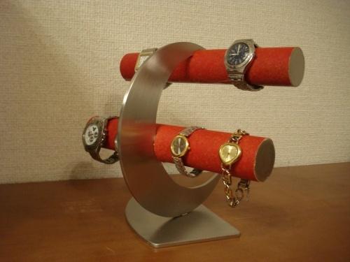 誕生日プレゼントに!レッド丸パイプ三日月8本掛け腕時計スタンド ak-design