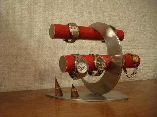 プレゼントに!レッド丸パイプ三日月8本掛け腕時計スタンド リングスタンド ak-design