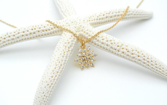 再販【14kgf】雪の結晶ネックレス