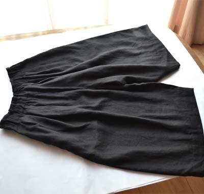 リネンワイドパンツ ブラック