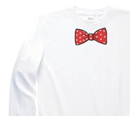 だまし絵 水玉 蝶ネクタイ(リボン) 150.160.S〜XLサイズ【受注生産品】 長袖Tシャツ