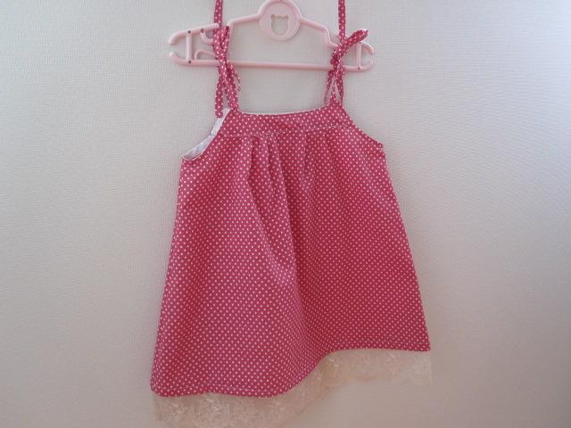 キッズ 水玉 ピンク チュニック 裾レース付 100cm