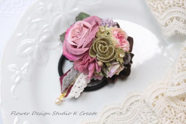 薔薇とパールのお花のヘアゴム:B(Mサイズ)