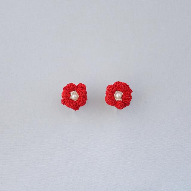 キンポウゲ ノンホールピアス(紅色)