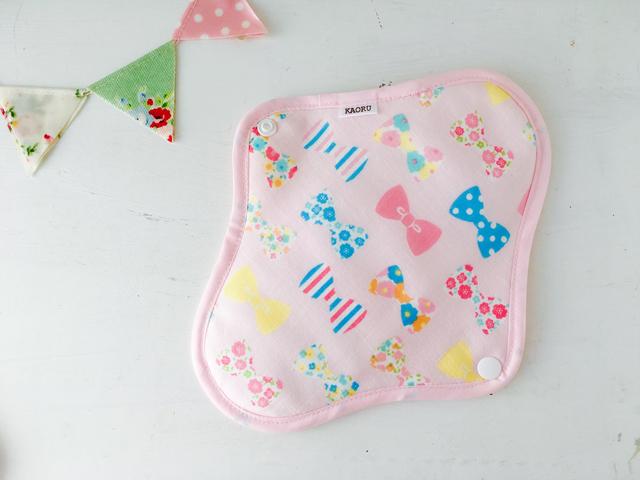 可愛い布ナプキン『pinkリボン』昼用Mサイズ