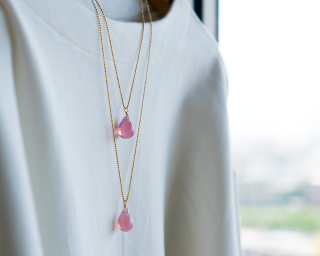 しずくガラスの2連ネックレス☆ピンク