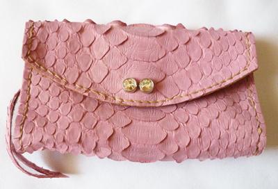 リアルパイソン レザー ジュエリー携帯ケース ジュエリー携帯ポーチ ピンク クリスタル飾り