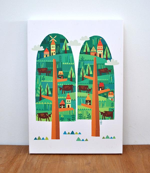 ファブリックパネル「2つの樹」