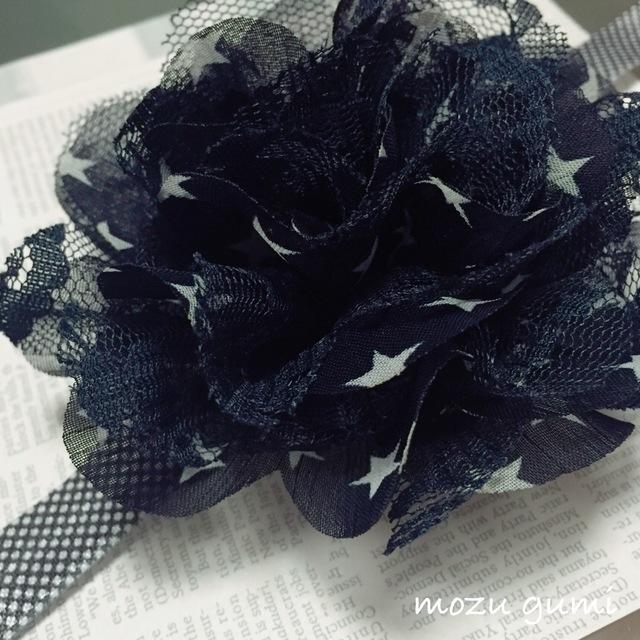 【お子様用】お星さまとレースのお花+ブラック×ホワイト(ドット)ヘアーバンド