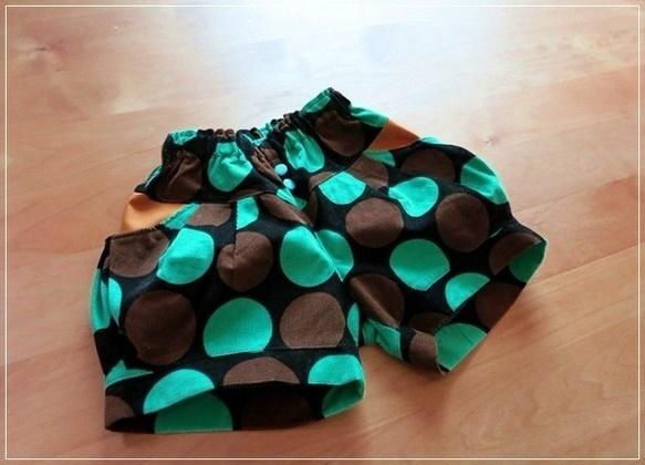 カラフルドット★かぼちゃパンツ green 110サイズ