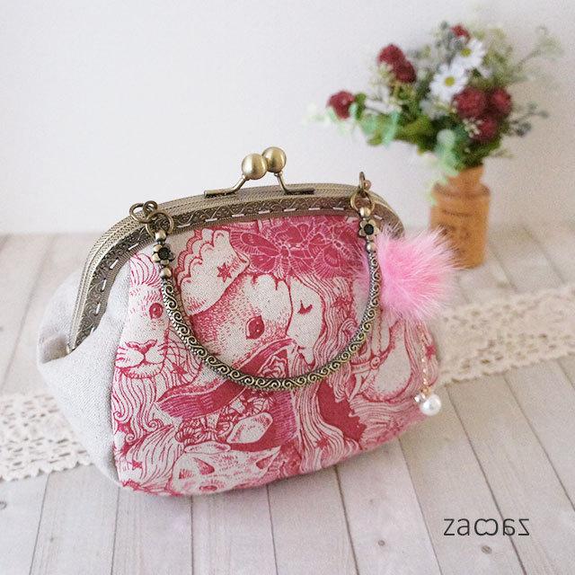 【販売終了】がま口手提げバッグ*眠りの森の姫の夢*ピンク