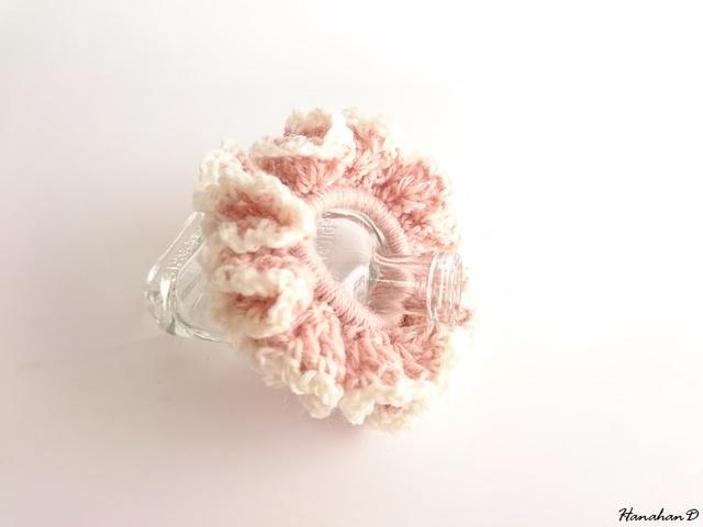 ★ボリュームフリルシュシュ 手編みウールS ピンク