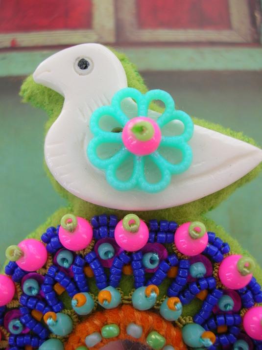 鳥さん 青ブローチ