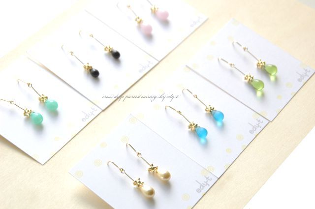 cross drop pierced earring