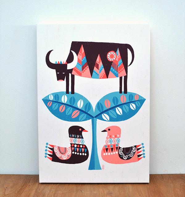 ファブリックパネル「牛と鳥」