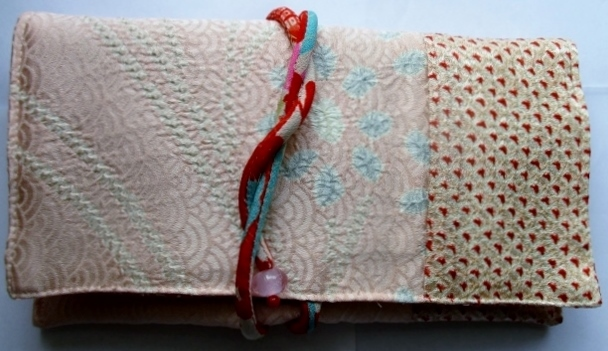 着物リメイク 訪問着と絞りで作った和風財布 1861