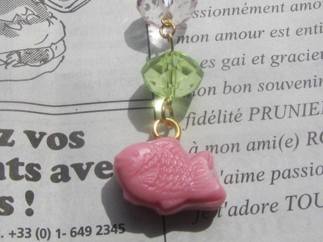 ピンク◆たい焼きのストラップ スイーツデコ