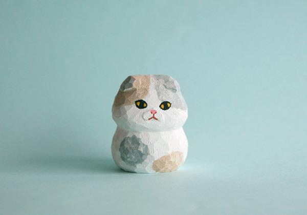 木彫り人形 スコティッシュフォールド薄三毛  [MWF-088