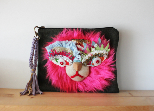 <������!>Lion clutch/verypink