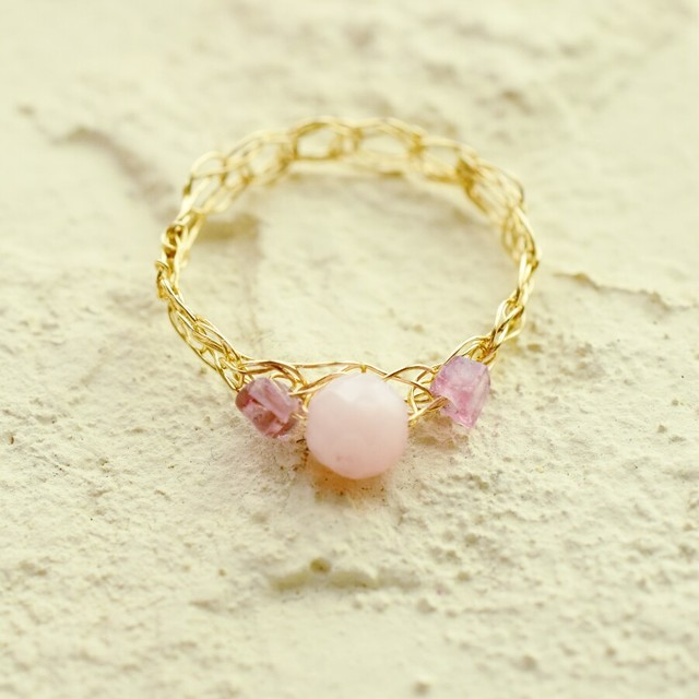 [K14gf] ピンクオパール×ピンクトルマリン*ゴールドフィルド編みリング