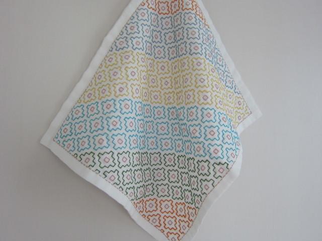 刺し子の布巾(柿の花/カラフル)