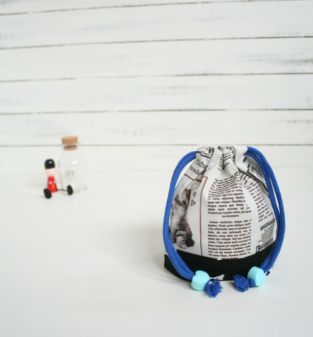 お正月セール!入園入学準備 ねこ新聞のコップ袋 black