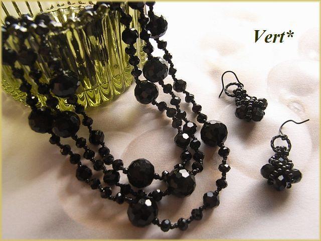 Vert* ブラックロンデルカットグラスピアス