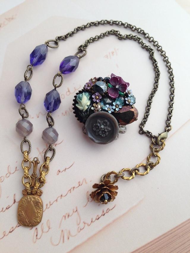 bouquet de violettes 菫の花束ブローチ&ネックレス