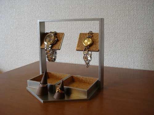 誕生日プレゼントに!デカイトレイ腕時計スタンド 指輪スタンド付き(未固定) ak-design