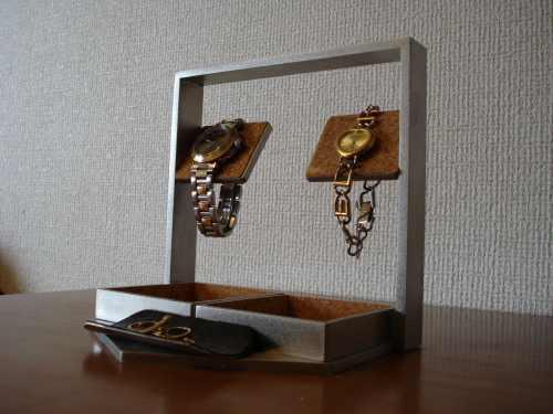 贈り物に!デカイトレイ腕時計スタンド ブラックトレイ付き ak-design