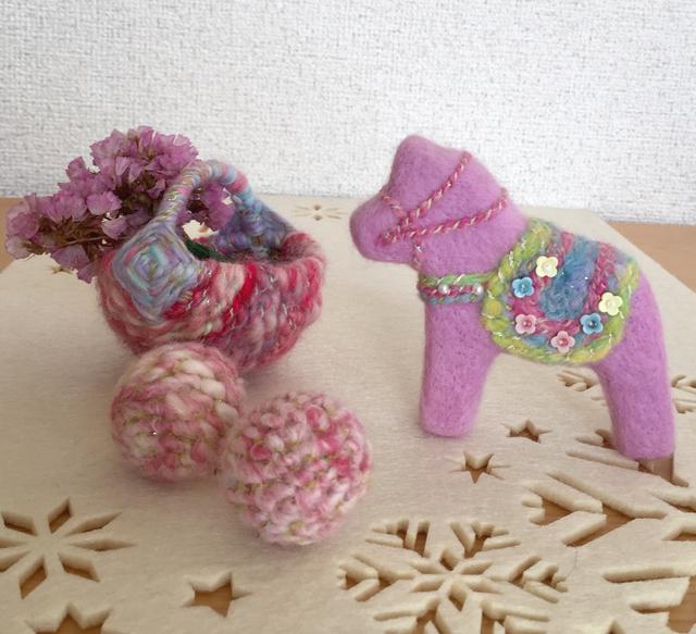 羊毛フェルト  北欧雑貨もピンク!