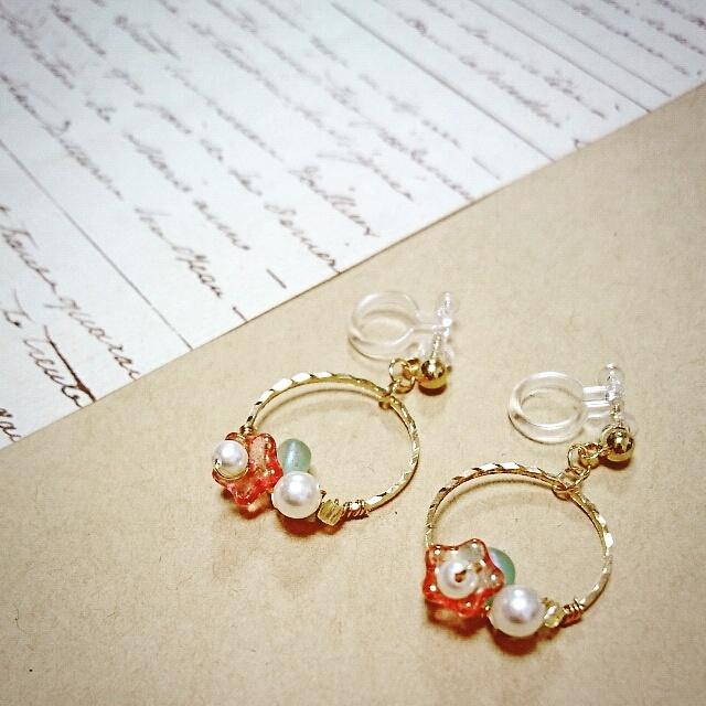お花とパール(スワロフスキー)の可愛いイヤリング