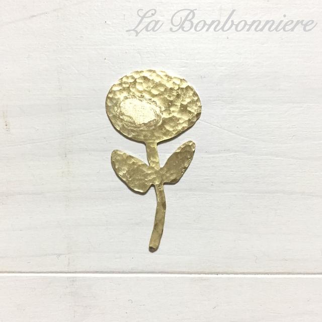 真鍮ブローチ  お花(まる ふたば)