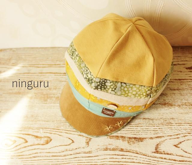 なぜか かわいい キャスケット☆彡黄色×ミント(タンポポ様オーダー品)