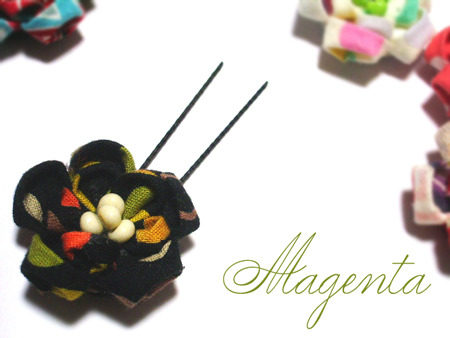 at Japanesque♪ 丸摘まみの花飾り(五色豆)