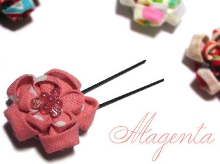at Japanesque♪ 丸摘まみの花飾り(桃の香)