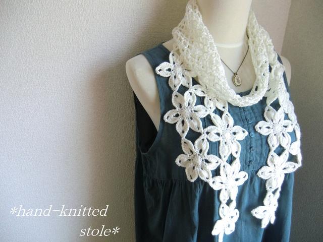 リネン 麻 お花のストール(白)