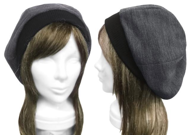 ジャガード織コットンニット/リブ付ベレー帽(ゆったり)◆杢灰系