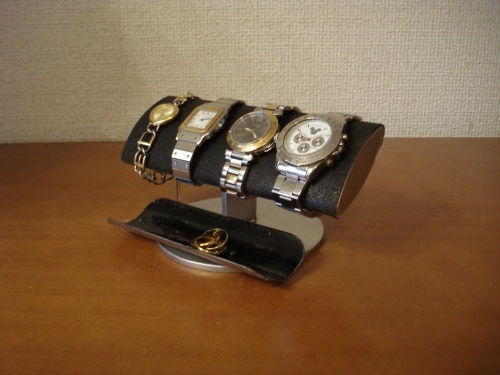 男性へのプレゼントに!ブラックでかい楕円パイプ男性用腕時計スタンド ak-design