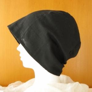 夏に涼しく下地にもなる ガーゼ帽子 黒(CGL-001-B)