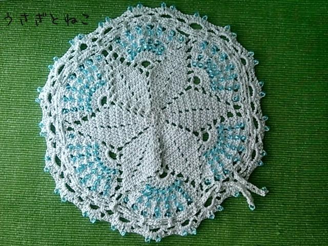 かぎ針編み レースのドイリー巾着