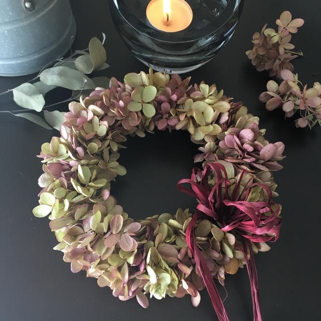 秋色紫陽花 水無月リース
